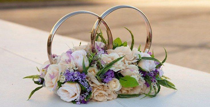 Свадебные кольца на машину