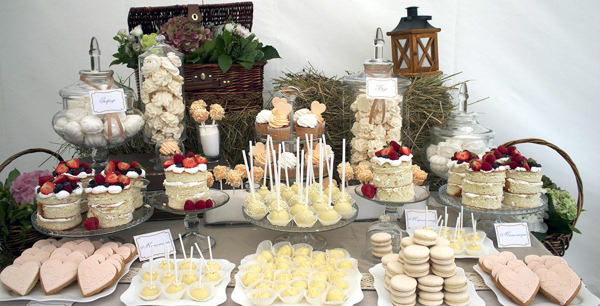 Оформление сладкого стола на свадьбу