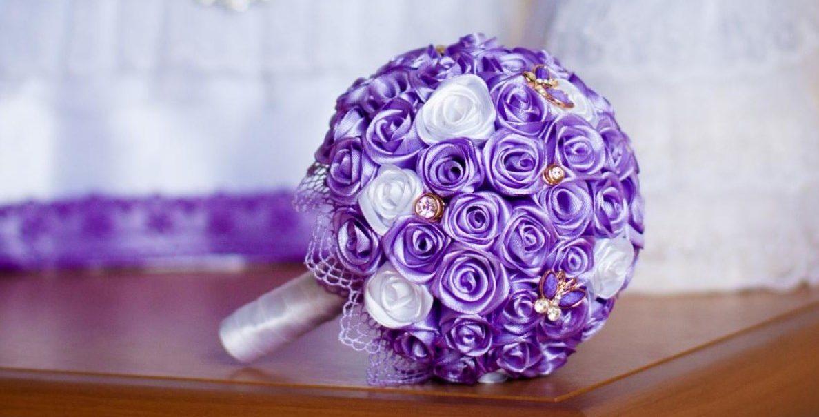 Букет для невесты своими руками из атласных лент фото