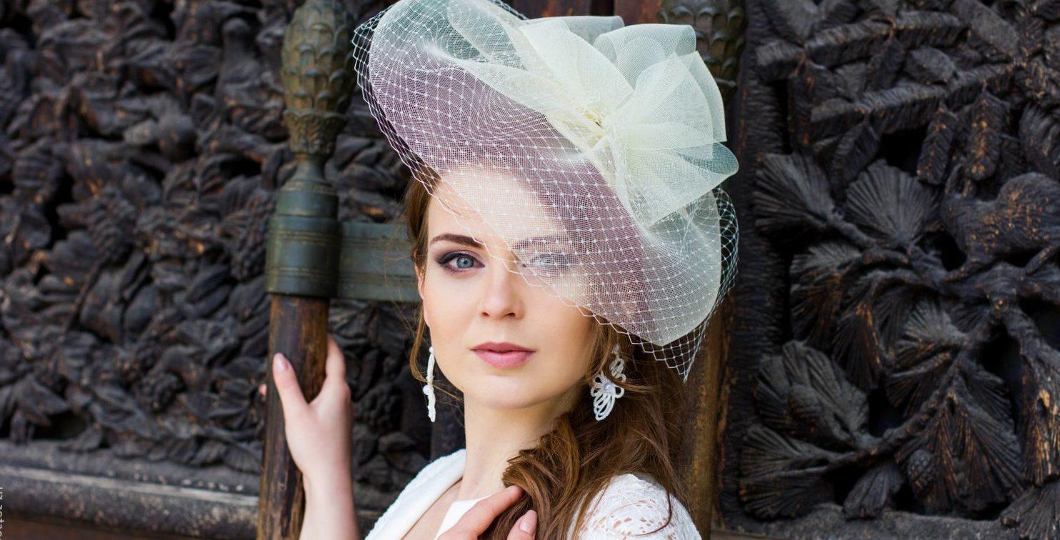 свадебная шляпка +с вуалью